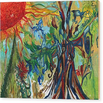 Music In Bird Of Tree Wood Print by Genevieve Esson