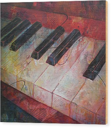 Music Is The Key - Painting Of A Keyboard Wood Print by Susanne Clark