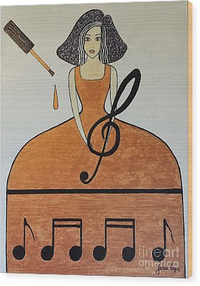 Music Lover Wood Print by Jasna Gopic