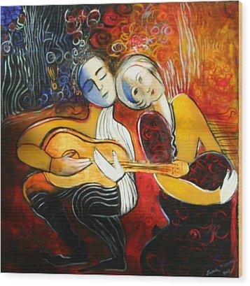 Music Lovers Wood Print