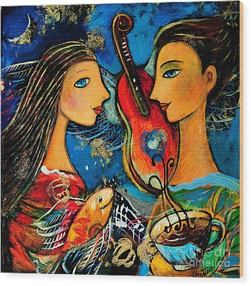 Music Lovers Wood Print by Shijun Munns