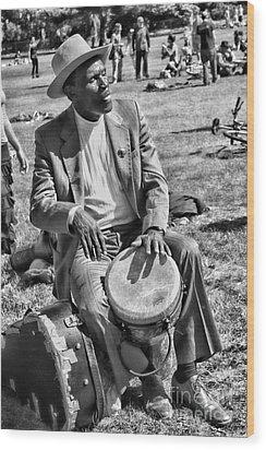 Music Man On Hippie Hill By Diana Sainz Wood Print by Diana Sainz
