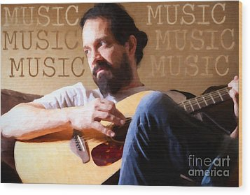 Music Man Wood Print by Sharon Dominick