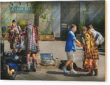 Music - Mummers Preperation Wood Print by Mike Savad