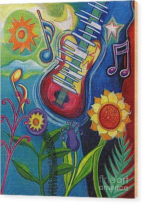 Music On Flowers Wood Print by Genevieve Esson