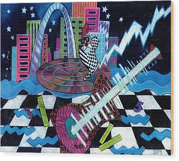 Music On The River Stl Style Wood Print by Genevieve Esson
