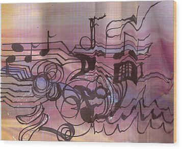 Music Out Of The Box Wood Print by Anne-Elizabeth Whiteway