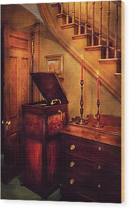 Music - Record - The Victrola Wood Print by Mike Savad