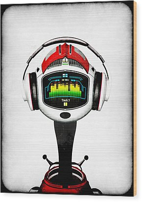 Music Roboto Wood Print by Frederico Borges