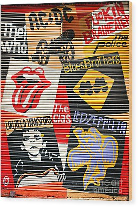 Music Street Art Color Wood Print by Luciano Mortula