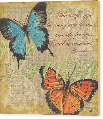 Musical Butterflies 1 Wood Print by Debbie DeWitt