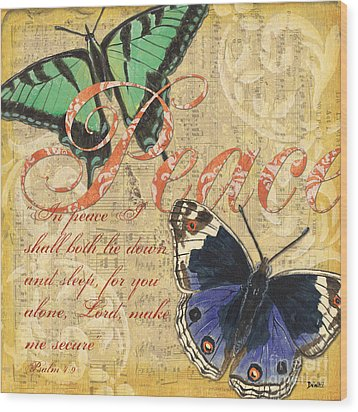 Musical Butterflies 2 Wood Print by Debbie DeWitt