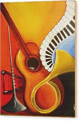 Musical Instruments Wood Print by Rajni A