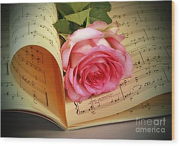 Musical Rose Wood Print by Inspired Nature Photography Fine Art Photography