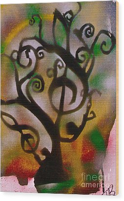 Musical Tree Golden Wood Print by Tony B Conscious
