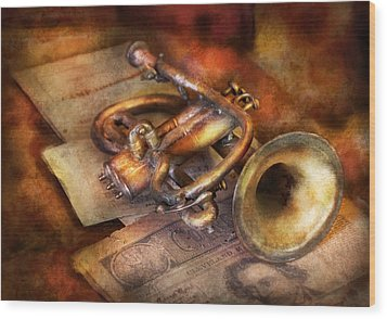 Musician - Horn - Toot My Horn Wood Print by Mike Savad