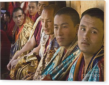Wood Print featuring the digital art Musicians From Bhutan by Angelika Drake