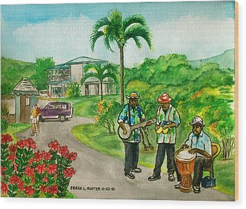 Musicians On Island Of Grenada Wood Print
