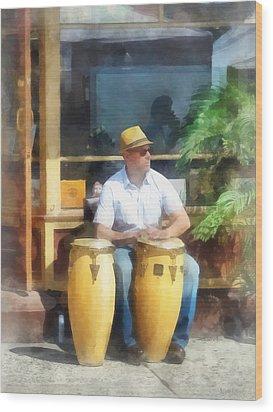 Musicians - Playing Bongo Drums Wood Print by Susan Savad