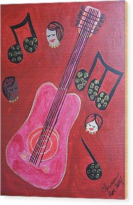 Musique Rouge Wood Print by Clarissa Burton