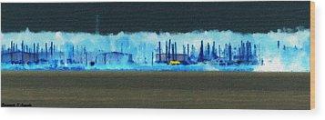Muskegon Lake View Of Drydocked Sailboats At The Marina Wood Print by Rosemarie E Seppala