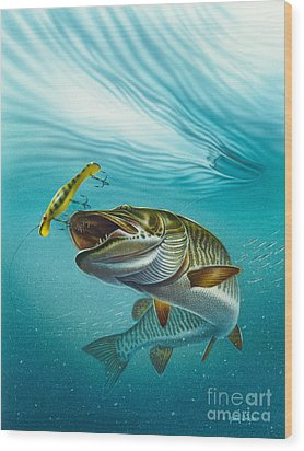 Muskie Troll Wood Print by Jon Q Wright