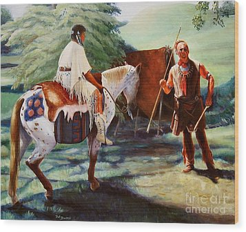 Wood Print featuring the painting Muskogee Traditions by Pat Burns