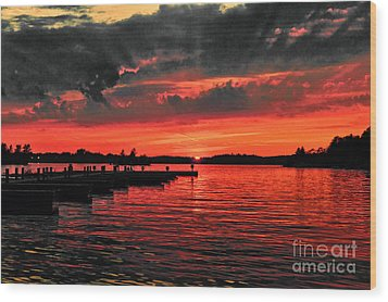 Muskoka Sunset Wood Print by Les Palenik