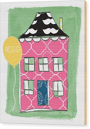 Mustache House Wood Print by Linda Woods
