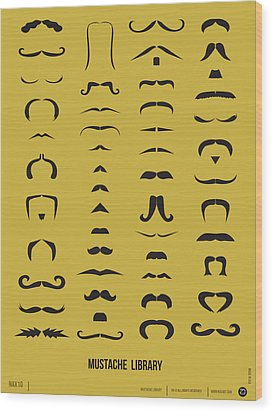 Mustache Library Poster Wood Print by Naxart Studio