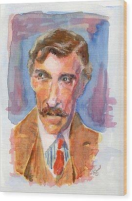 Mustache Wood Print by Marsden Burnell