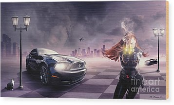 Wood Print featuring the photograph Mustang by Bruno Santoro