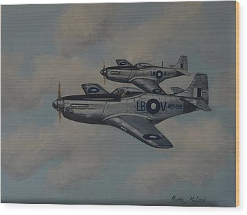 Mustang Duo Wood Print by Murray McLeod