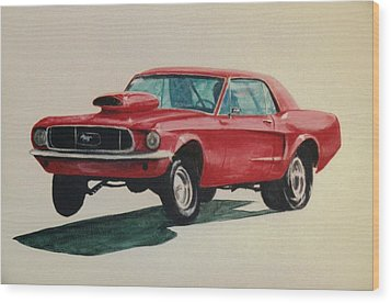 Wood Print featuring the painting Mustang Launch by Stacy C Bottoms