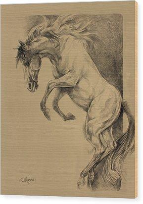 Mustang Rearing Wood Print by Derrick Higgins