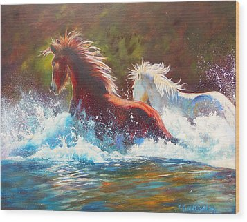 Wood Print featuring the painting Mustang Splash by Karen Kennedy Chatham