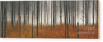 Mute Dog Forest Pano Wood Print by Clare VanderVeen