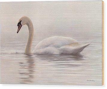 Mute Swan Painting Wood Print