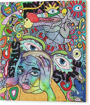 My Aching Head Wood Print by Susan Sorrell