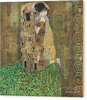My Acrylic Painting As An Interpretation Of The Famous Artwork Of Gustav Klimt The Kiss - Yakubovich Wood Print