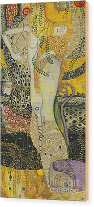 My Acrylic Painting As An Interpretation Of The Famous Artwork Of Gustav Klimt - Water Serpents I Wood Print by Elena Yakubovich