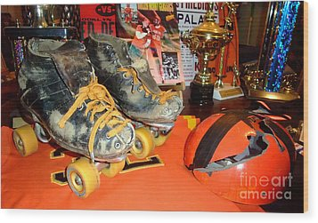 My Battle Scarred Roller Derby Skates And Helmet   Wood Print by Jim Fitzpatrick