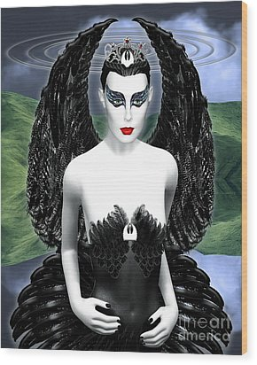 My Black Swan Wood Print by Keith Dillon