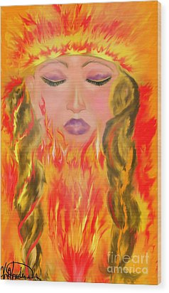 My Burning Within Wood Print by Lori  Lovetere