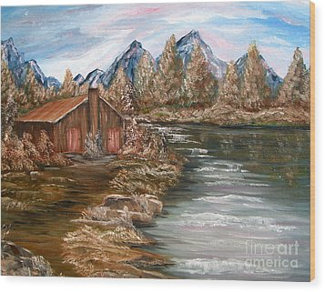 My Cabin By The Lake Wood Print
