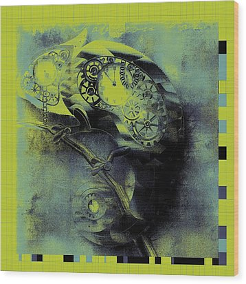 Chameleon - Lime - 01b02 Wood Print by Variance Collections