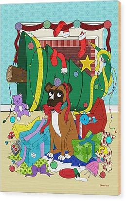 My Dog Ate Christmas Wood Print by Shawna Rowe