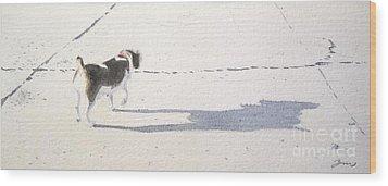 My Dog Wood Print by Yoshiko Mishina