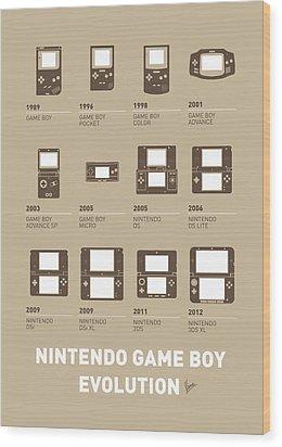 My Evolution Nintendo Game Boy Minimal Poster Wood Print by Chungkong Art