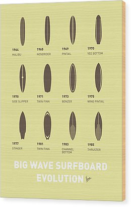 My Evolution Surfboards Minimal Poster Wood Print by Chungkong Art